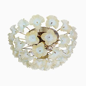 Mid-Century Brass and Murano Glass Flush Mount Chandelier, 1960s