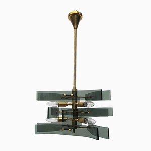 Lámpara de araña de cristal ahumado y latón de Fontana Arte, años 60