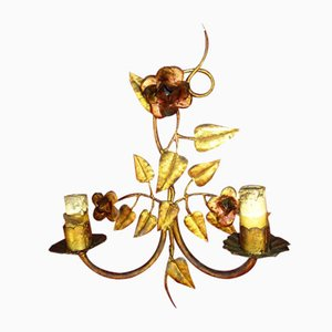 Mid-Century Gold Leaf and Wrought Iron Floral Sconce, 1950s