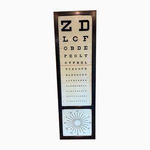 Lámpara de oftalmólogo francesa industrial antigua de haya y vidrio coloreado de Luneau & Coffignon