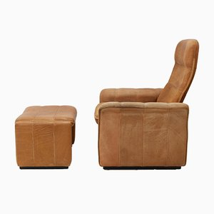 Vintage Leather DS 50 Lounge Chair & Ottoman from de Sede, 1978