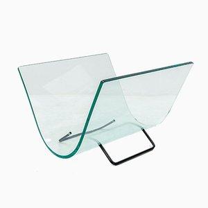Revistero italiano vintage moderno de vidrio curvado de Fiam, 1984