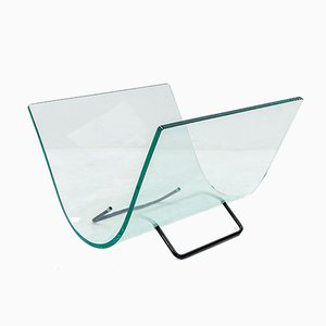 Vintage Italian Modern Glass Curved Newspaper Rack from Fiam, 1984
