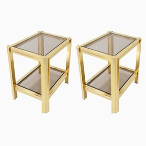 Vintage Regency French Brass and Glass Side Tables, 1974, Set of 2