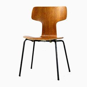 Silla Hammer 3103 danesa de acero tubular y teca de Arne Jacobsen para Fritz Hansen, 1964