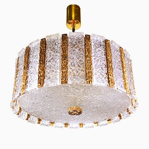 Austrian Gold Plated and Frosted Drum Chandelier from J.T. Kalmar, 1960s