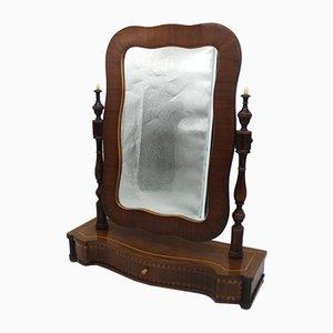 Espejo Louis Philippe italiano antiguo de nogal con incrustaciones