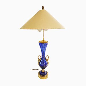 Large Vintage Murano Glass and Gilt Brass Aventurine Swan Urn Table Lamp from Barovier & Toso