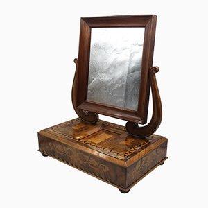 Espejo Charles X antiguo con incrustación de nogal