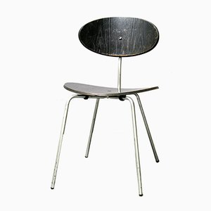 Mid-Century Swiss Black Dining Chair by Hans Bellmann for Domus