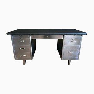 Industrieller Vintage Schreibtisch aus gebürstetem Stahl, 1970er