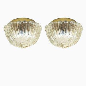 Lámparas de pared de vidrio, años 70. Juego de 2
