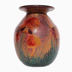 Jarrón francés antiguo de vidrio esmaltado y grabado de Daum