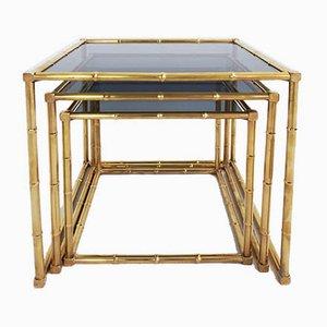 Tables Gigognes Style Hollywood Regency en Imitation Bambou, France, 1960s