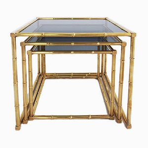 Tavolini ad incastro in stile Hollywood Regency a forma di bambù, Francia, anni '60