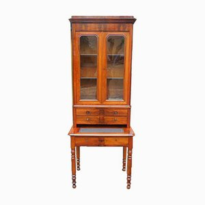 Antique French Louis Philippe Walnut Bookcase Desk