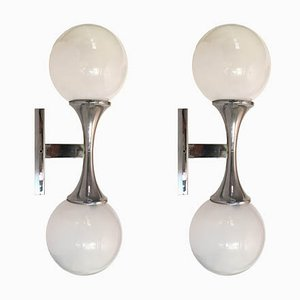 Italian Steel and Hand-Blown Glass Industrial Sconces from Targetti, 1960s, Set of 2