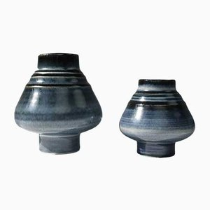 Blue Glaze Stoneware Bamboo Vases by Olle Alberius for Rörstrand, 1960s, Set of 2