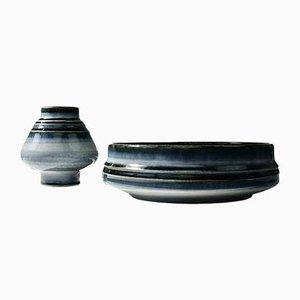 Blau glasierte Bamboo Vase und Schale aus Steingut von Olle Alberius für Rörstrand, 1960er