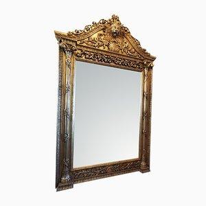 Hoher Vintage Spiegel mit geschnitztem Holzrahmen