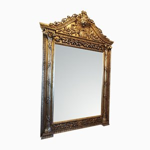 Vintage Tall Carved Wooden Mirror