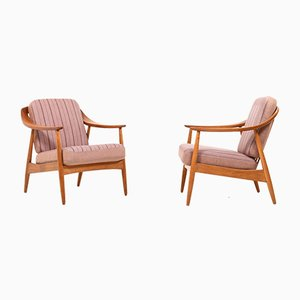 Mid-Century Danish Oak and Teak Easy Chairs, Set of 2