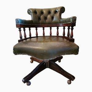 Captain's Chair aus grünem Leder von Hillcrest, 1930er