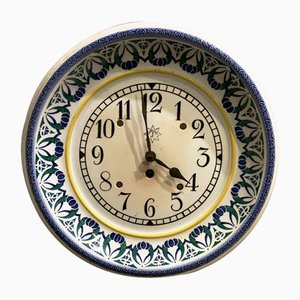 Hand-Painted Ceramic Kitchen Clock from Junghans, 1920s