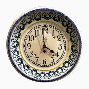 Horloge de Cuisine en Céramique Peinte à la Main de Junghans, 1920s