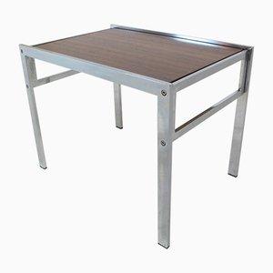 Tavolino Mid-Century in acciaio cromato e teak, anni '60