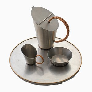 Servizio da caffè in peltro di Ulla Fogelklou-Skogh per Ystad Tenn, anni '30