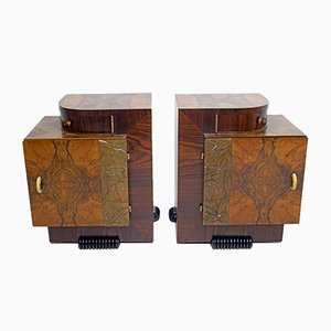 Art Deco Italian Walnut Bedside Cabinets by Gaetano Borsani for Atelier Borsani Varedo, 1920s, Set of 2