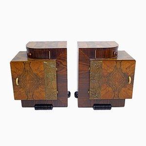 Tables de Chevet Art Déco en Noyer par Gaetano Borsani pour Atelier Borsani Varedo, Italie, 1920s, Set de 2