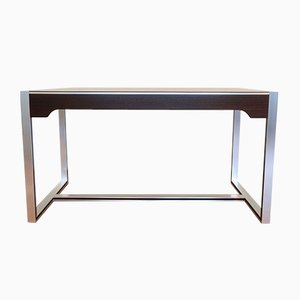 Modernist Aluminum, Smoked Glass & Rosewood Desk by Claude Gaillard for Ligne Roset, 1970s
