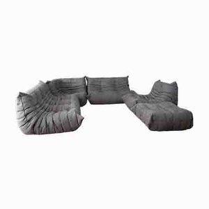 Graues Vintage Togo Wohnzimmerset aus Baumwolle von Michel Ducaroy für Ligne Roset