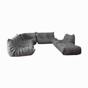 Vintage Grey Microfiber Togo Living Room Set by Michel Ducaroy for Ligne Roset