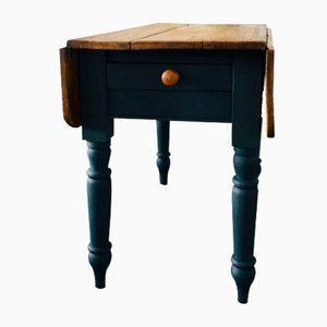 Small Antique Victorian Pine Drop-Leaf Kitchen Table
