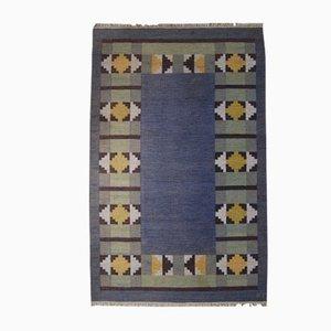 Alfombra Rölakan sueca vintage de tejido plano de Kerstin Persson, años 60