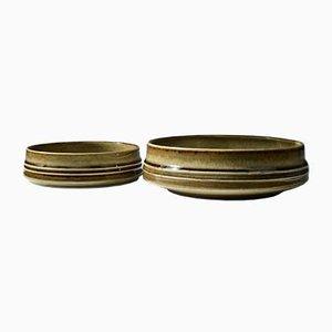 Braun glasierte Bambusschalen aus Steingut von Olle Alberius für Rörstrand, 1960er, 2er Set