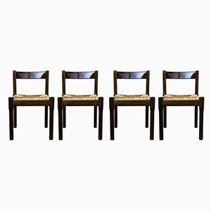 Italian Beech and Straw Carimate Dining Chairs by Vico Magistretti for Cassina, 1963, Set of 4