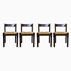 Italienische Carimate Esszimmerstühle aus Buche & Stroh von Vico Magistretti für Cassina, 1963, 4er Set