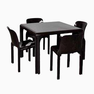 Italienischer Selene Esstisch & Stühle aus Kunststoff von Vico Magistretti für Artemide, 1960er