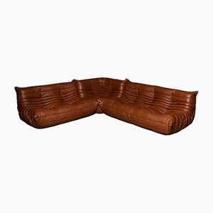 French Aniline Leather Modular Sofa Set by Michel Ducaroy for Ligne Roset, 1970s