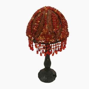Mid-Century Hand-Made Italian Bronze & Acrylic Jewel Beaded Table Lamp, 1960s