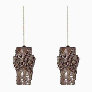 Lampes à Suspension en Céramique par Bodil Marie Nielsen, Danemark, 1950s, Set de 2