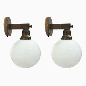 Art Déco Brass and Opaline Glass Wall Lamps, 1930s, Set of 2