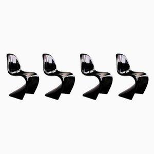 Dänische schwarze Panton Stühle von Verner Panton für ZE Möbel, 1984, 4er Set