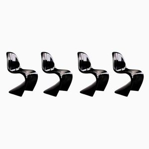 Danish Black Panton Chairs by Verner Panton for ZE Möbel, 1984, Set of 4