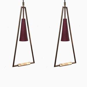 Lampes à Suspension Minimalistes, 1960s, Set de 2