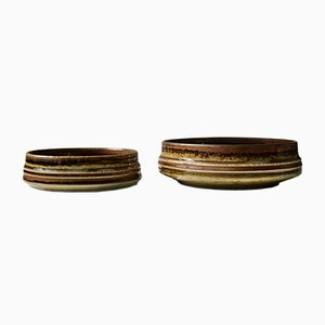Brown Glaze Stoneware Bamboo Bowls by Olle Alberius for Rörstrand, 1960s, Set of 2